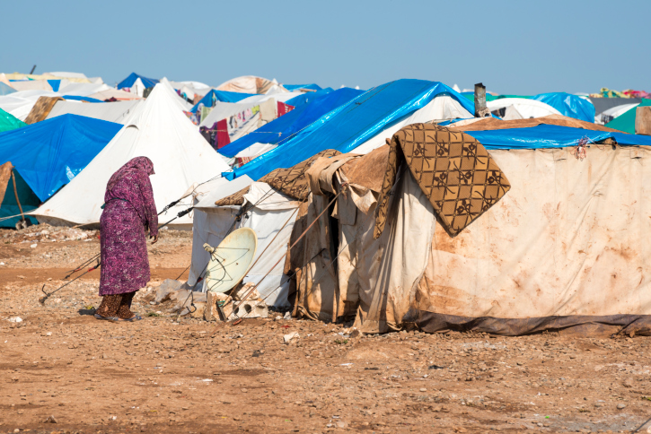 Syrian woman in the camp for displaced persons in Qatma, Syria. Getty Images.