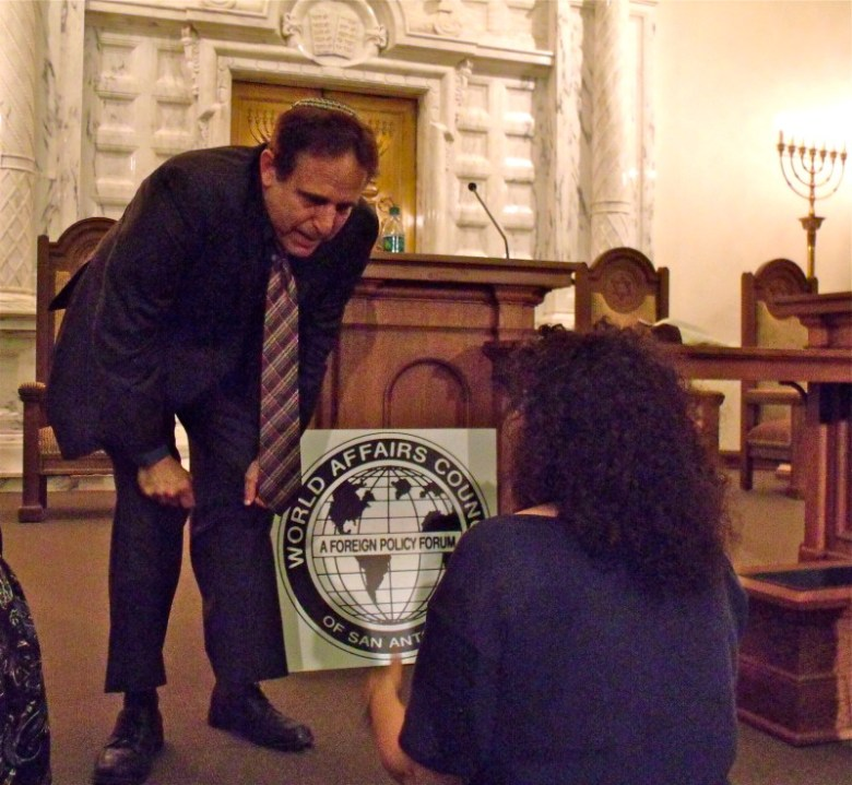 Rabbi Steve Gutow meets an audience member following his presentation on anti-Semitism at Temple Beth-El on Thursday, Sept. 10, 2015. Photo by Edmond Ortiz