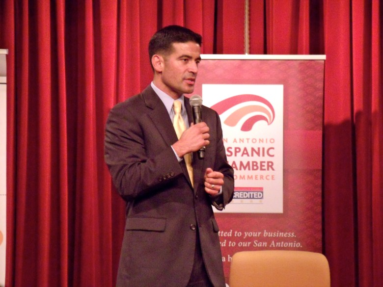 Bexar County District Attorney Nico LaHood speaks to the crowd. Photo by Edmond Ortiz.
