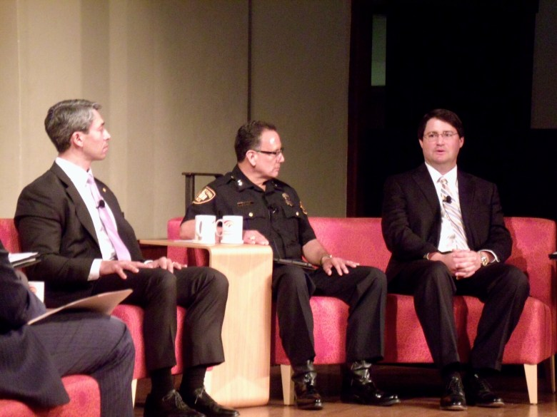 From left: Councilmember Ron Nirenberg (D8), SAPD Assistant Police Chief Jose Banales, and Assistant District Attorney Michael Hoyle. Photo by Edmond Ortiz.