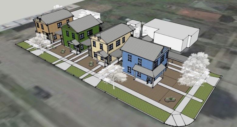 The four-structure development at 532 Dawson St. and 417 N. Mesquite St. Courtesy image.