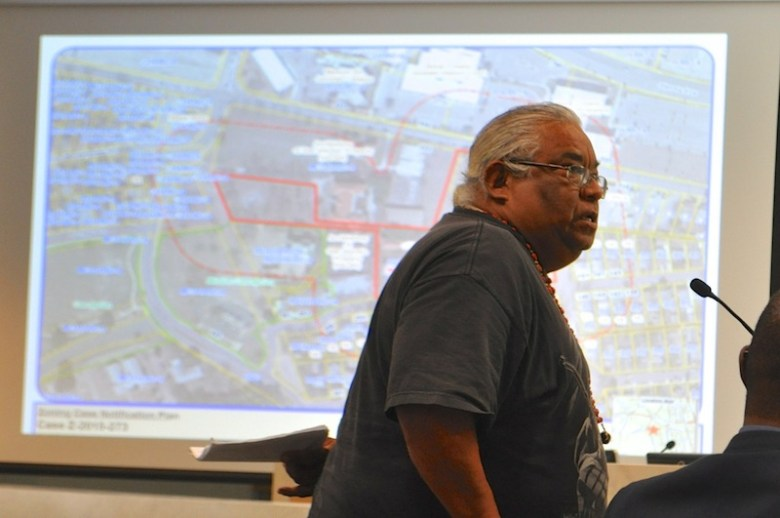 Local resident Apifanio Hernandez said the Archdiocese of San Antonio, which owns the property, should forfeit the profit-making endeavor to work with Native American tribes that trace ancestry to those that built and lived in the missions. Photo by Iris Dimmick.