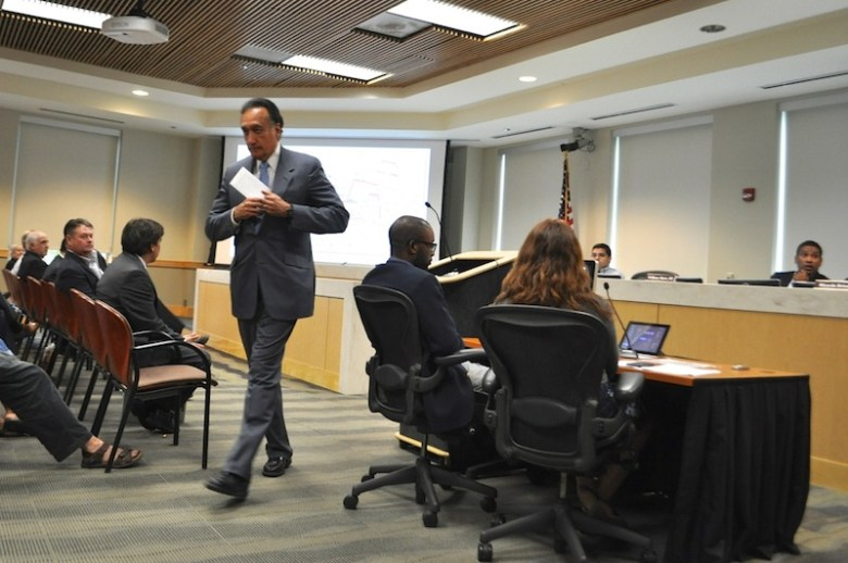 Former Mayor Henry Cisneros, an investor in the proposed Mission Concepción apartment complex, concludes his statements to the Zoning Commission. Photo by Iris Dimmick.