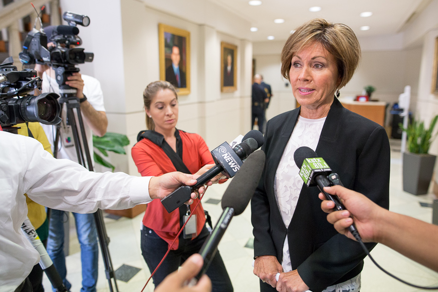 City Manager, Sheryl Sculley discusses the approved city budget. Photo by Scott Ball.