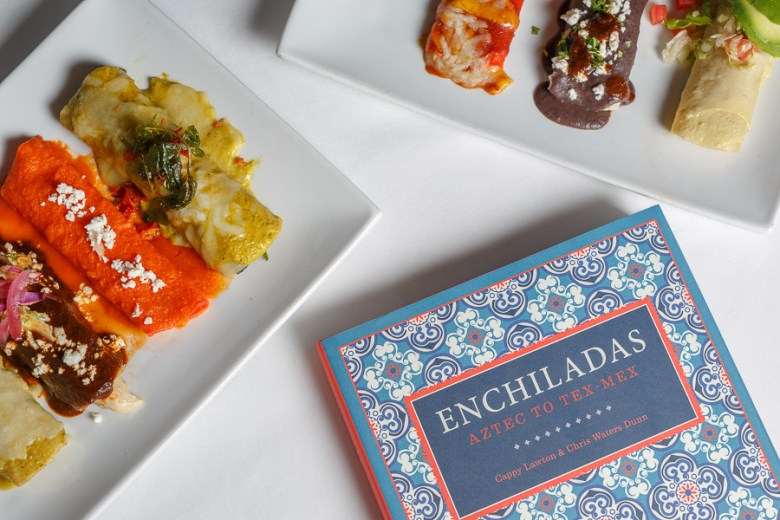 Enchiladas the book is photographed with some local creations at La Fonda on Main. Photo by Scott Ball.