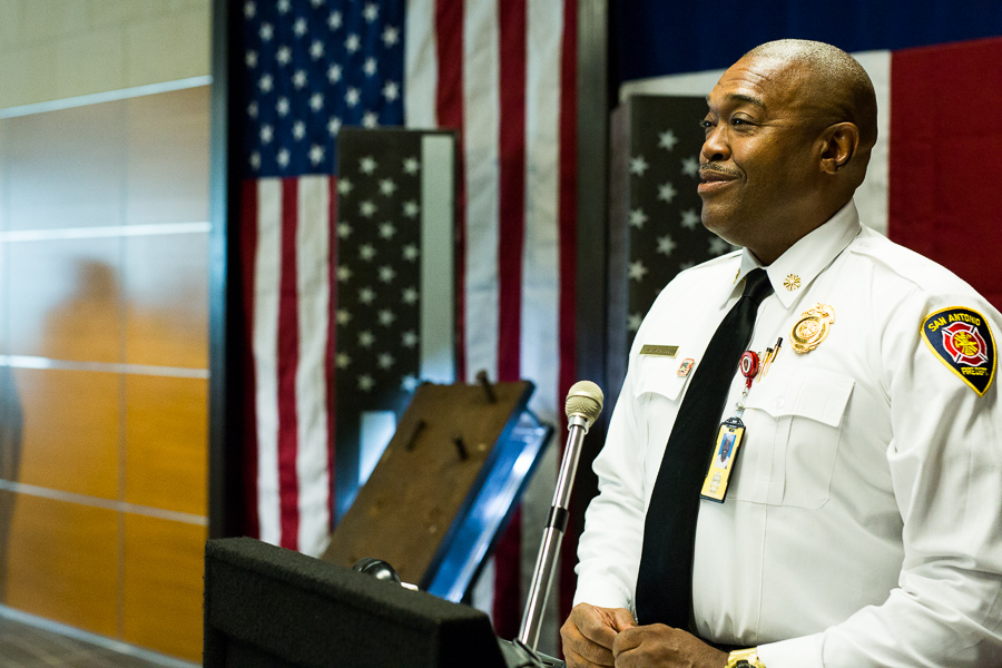 SAFD Chief, Charles Hood recollects where he was on September 11th 2001. Photo by Scott Ball.