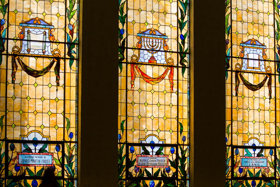 Stained glass windows illuminate at Temple Beth-El. Photo by Scott Ball.