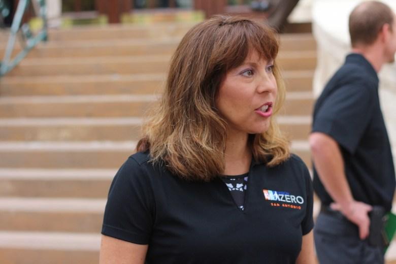 Councilmember Shirley Gonzales (D5) wears a Vision Zero shirt in support of having zero pedestrian fatalities in San Antonio. Photo by Joan Vinson.