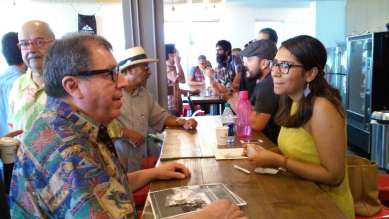 "Luis Mercado talks with Clarissa Ramon of Google Fiber San Antonio following a tech-centric ""Coffee with the Councilman"" event at Geekdom on Saturday, Sept. 19, 2015. Photo by Edmond Ortiz."