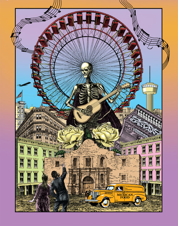 This Day of the Dead design was submitted for a poster competition in 2006. Image courtesy Jim Harter.