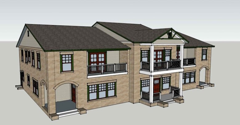 A rendering of the three-unit, two-story townhouse at 810 N. Olive St. Courtesy image.