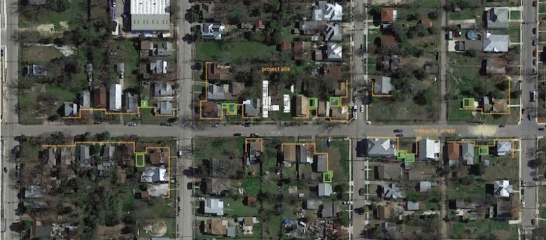 The green boxes outline guest house positions in the neighborhood. Courtesy image.