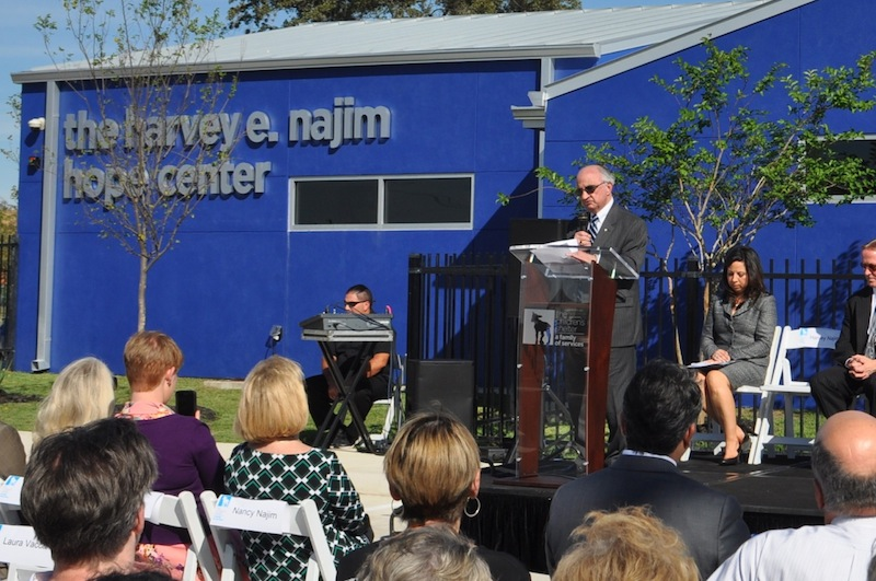 """Harvey E. Najim jokingly recalled telling Valero Energy Co. to """"back off"""" on the naming rights of the Hope Center. Photo by Iris Dimmick."""