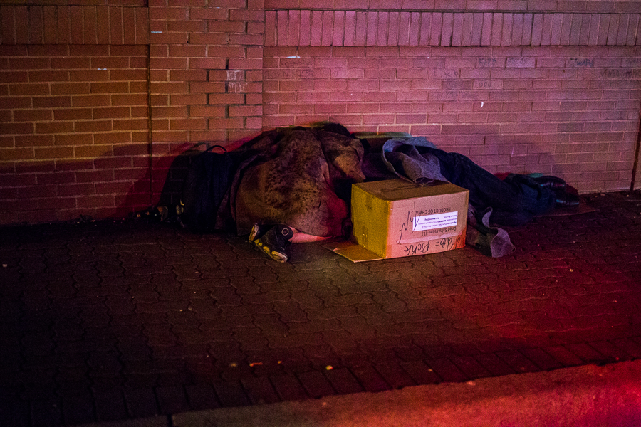 Two people sleep on the streets in San Antonio during the January 2015 homeless count. Photo by Scott Ball.