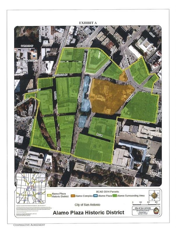 MAP of Alamo Plaza Historic District for Alamo GLO Endowment Cooperative Agmt