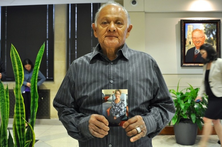 Miguel Calzada holds a picture of his wife, Guadalupe, who passed away on Sept. 26, 2015. Photo by Iris Dimmick.