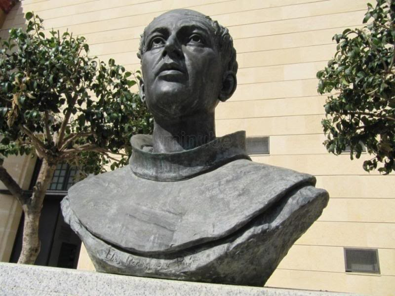 Friar Olivares, founder of a chain of missions in the region, is honored with a statue in his birthplace in Spain. Photo courtesy This Day In Texas History.
