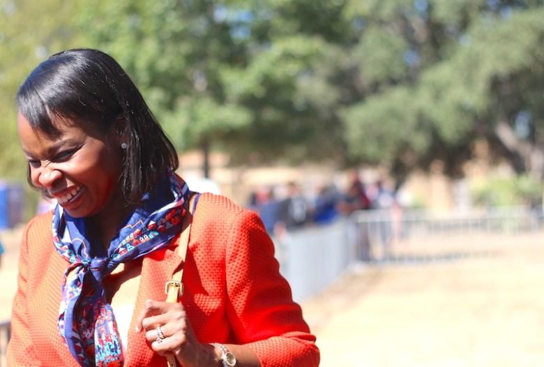 Mayor Ivy Taylor spoke during the Inscription Ceremony at Mission San José. Photo by Joan Vinson.