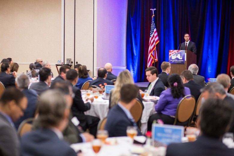 Luncheon guests listen as representative Joaquin Castro gives a speech at a luncheon hosted by the San Antonio Chamber of Commerce. Photo by Scott Ball.