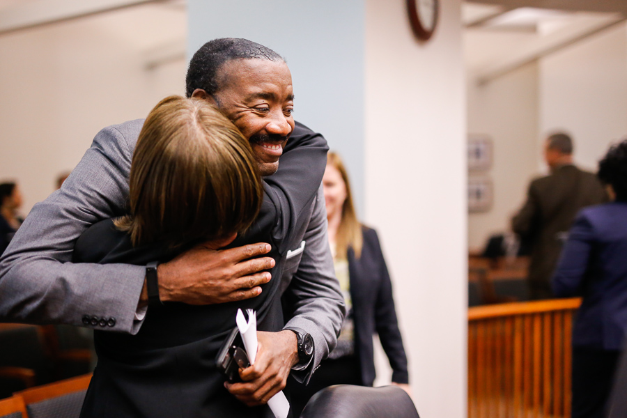 Outgoing CPS Energy and CEO Doyle Beneby hugs Board Chair Nora Chavez. Photo by Scott Ball.