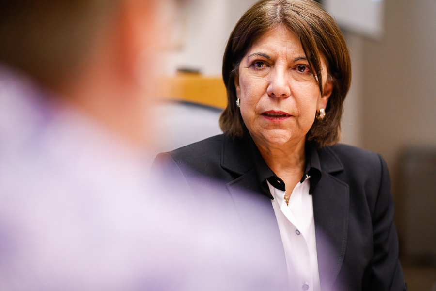 CPS Energy Board Chair Nora Chavez speaks to the media in regards to the opening position of CEO. Photo by Scott Ball.