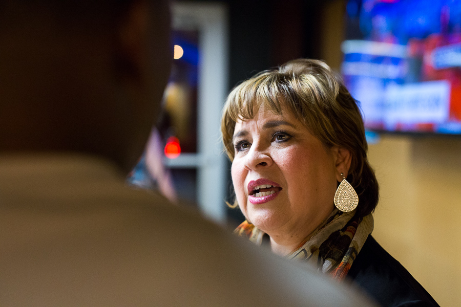 Leticia Van de Putte talks with a supporter. Photo by Scott Ball.