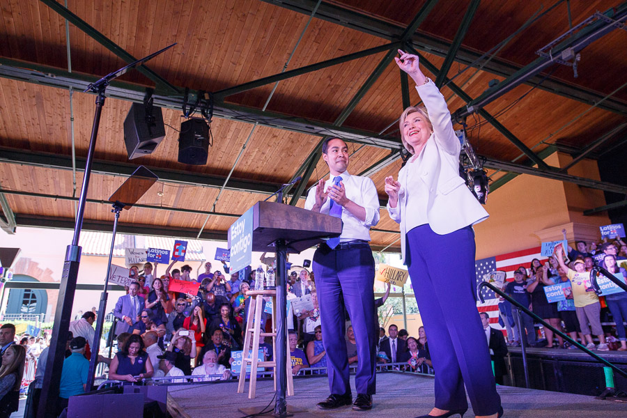 Julián Castro applauds as Hillary Clinton acknowledges the crowd. Photo by Scott Ball.