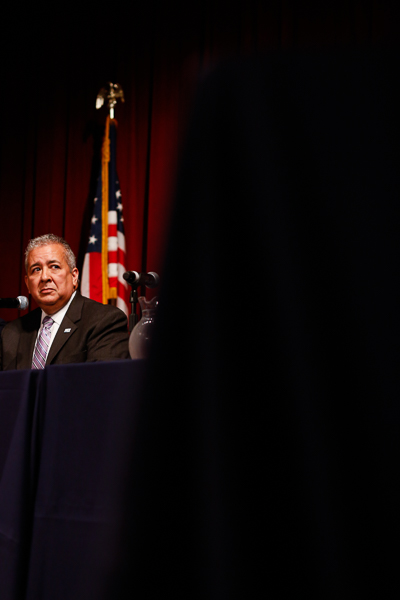 SAWS President Robert Puente looks up as he listens to a panelist speak. Photo by Scott Ball.