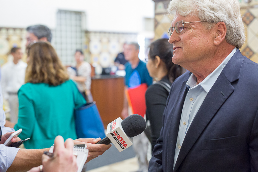 Water Report's lead author Calvin Finch is interviewed at City Hall. Photo by Scott Ball.