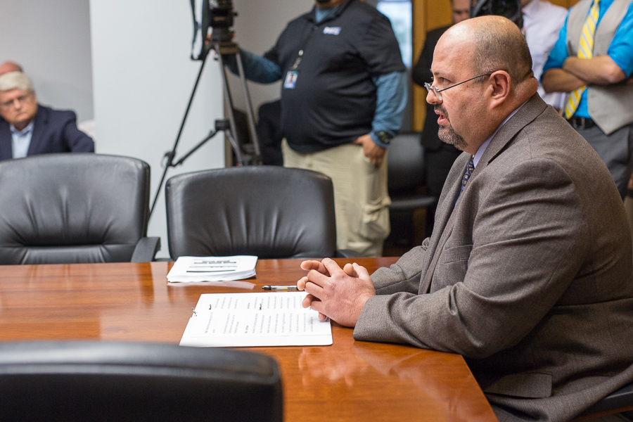 Director of IRNR Raul Lopez gives a statement to city staff. Photo by Scott Ball.