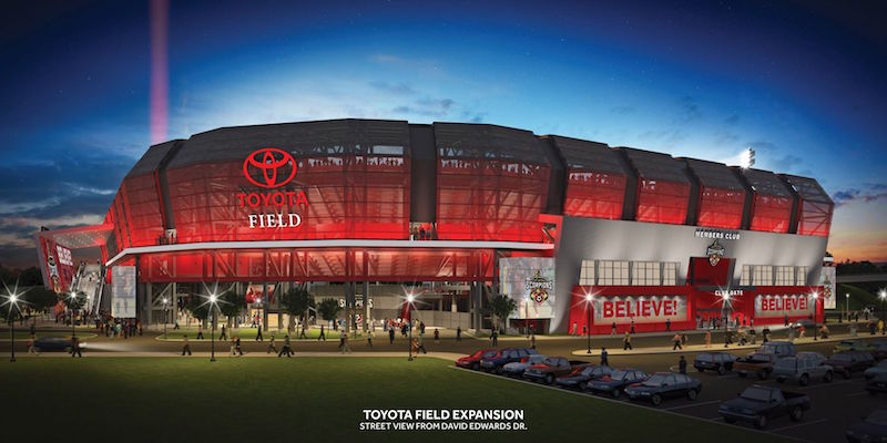 An eye level Toyota Field Expansion rendering released in September of 2014. Courtesy of the Scorpions FC Facebook page.