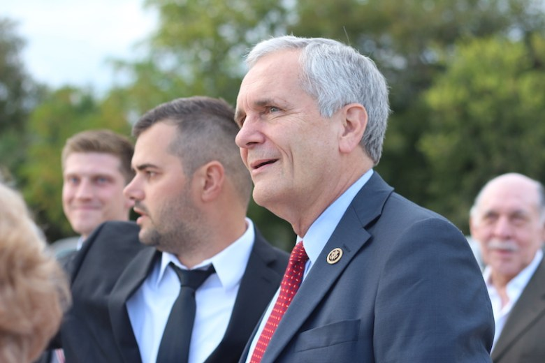 Congressman LLoyd Doggett (D-35) stand next to Efraim Varga during the groundbreaking ceremony. Photo by Joan Vinson.