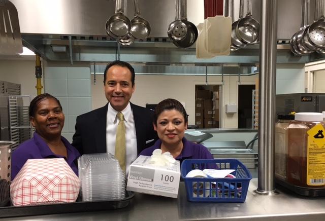 Sen. José Menéndez visits the new cafeteria kitchen at Longfellow MS. photo by Bekah McNeel