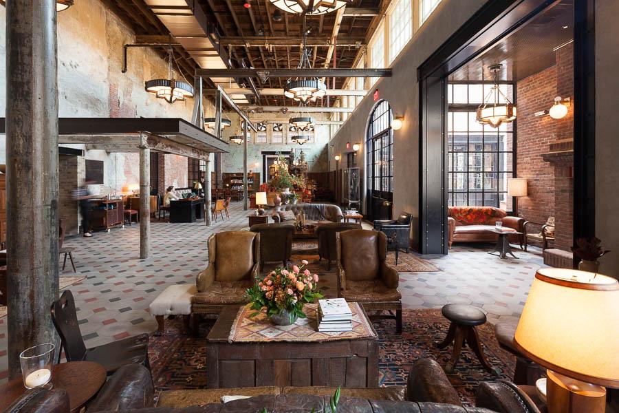 The main lobby at Hotel Emma. Photo by Scott Martin.