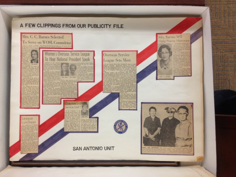 A scrapbook page of clippings from the Women's Overseas Service League collection, San Antonio Unit, part of the UTSA's Special Collection.