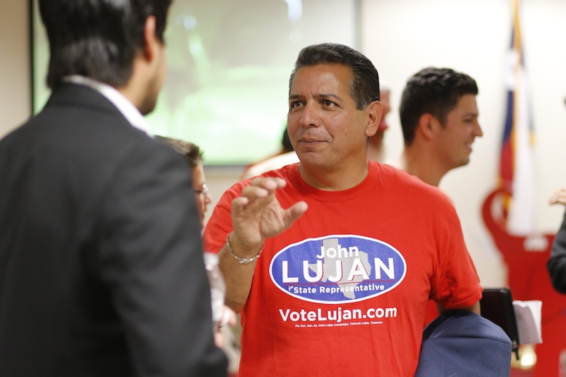 John Lujan, a Republican candidate for the Texas House District 118 seat, speaks with supporters at the Bexar County Republican Party Headquarters during an election watch party. Photo by Scott Ball.