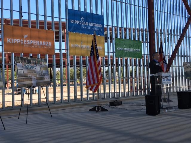 Mark Larson, CEO of KIPP San Antonio addresses the crowd at the future site of KIPP Cevallos. Photo by Bekah McNeel.