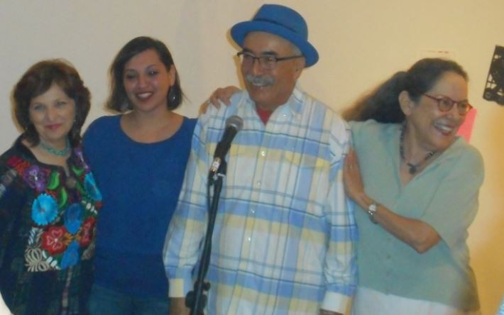 Poet Laureates of the city, state and nation were in attendance at a reception Tuesday evening. Pictured (from left) are Carmen Tafolla, Laurie Ann Guerrero, Juan Felipe Herrera, and Rosemary Catacalos. Photo by Don Mathis.