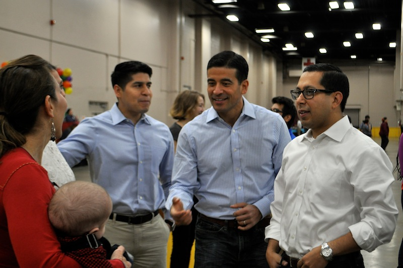 (From left) Council members Shirley Gonzales (D5), Rey Saldaña, District Attorney Nico LaHood, and state Rep. Diego Bernal talk backstage. Photo by Iris Dimmick.