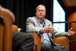 Rackspace Co-Founder Graham Weston speaks with Robert Rivard at the 2015 Health and The Built Environment Conference. Photo by Scott Ball.