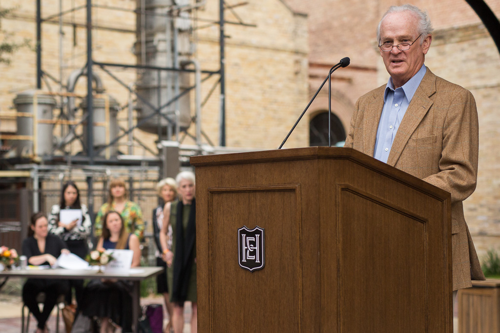 """CEO of Silver Ventures Christopher """"Kit"""" Goldsbury gives remarks at Hotel Emma's grand opening. Photo by Scott Ball."""