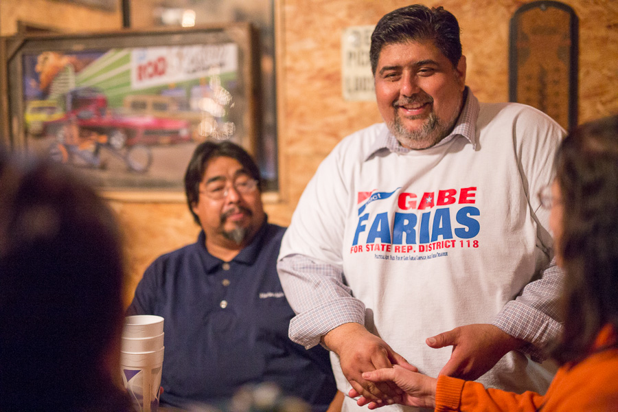 Gabe Farias shakes hands with supporters after a defeat. Photo by Scott Ball.
