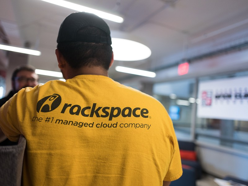 A Rackspace shirt is worn at the opening of the Open Cloud Academy. Photo by Scott Ball.