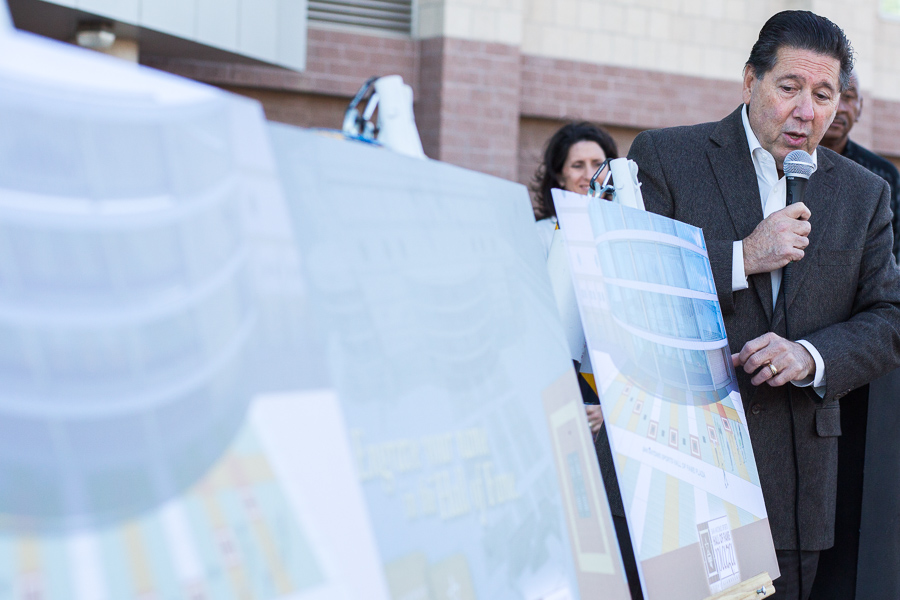 President and CEO of San Antonio Sports Russ Bookbinder points to renderings identifying the future Hall of Fame Plaza at the Alamodome. Photo by Scott Ball.