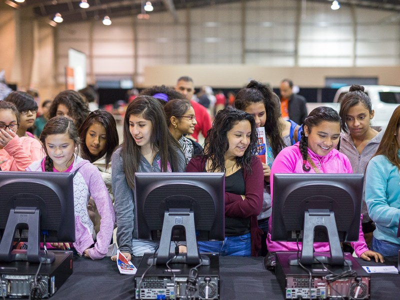 Harlandale ISD students work on computers during a S.T.E.M. workshop in 2015.