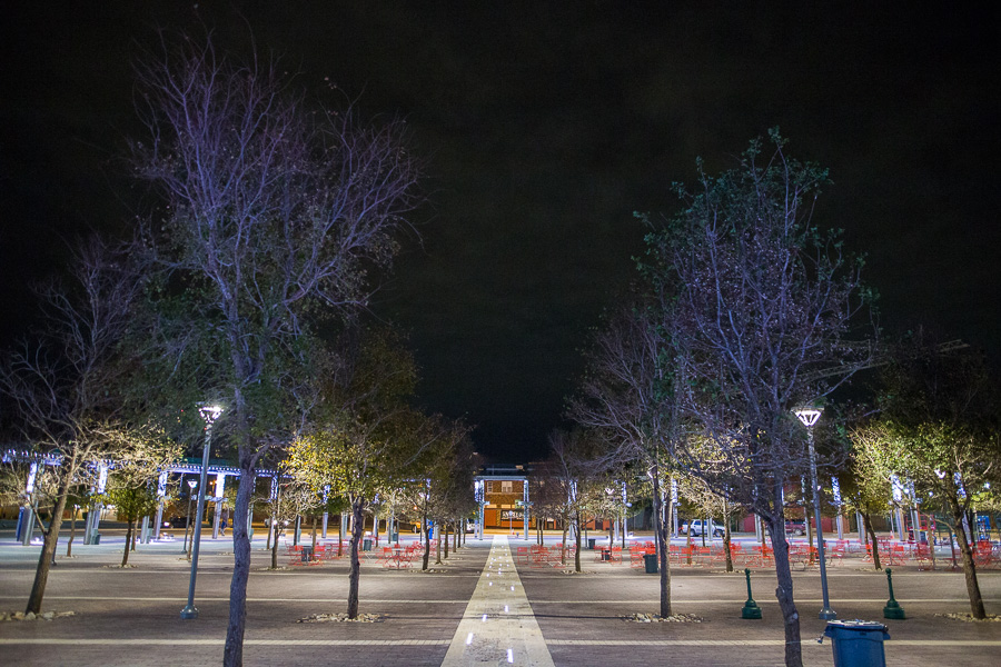 Centro Plaza features a fully lit courtyard in the evenings. Photo by Scott Ball.