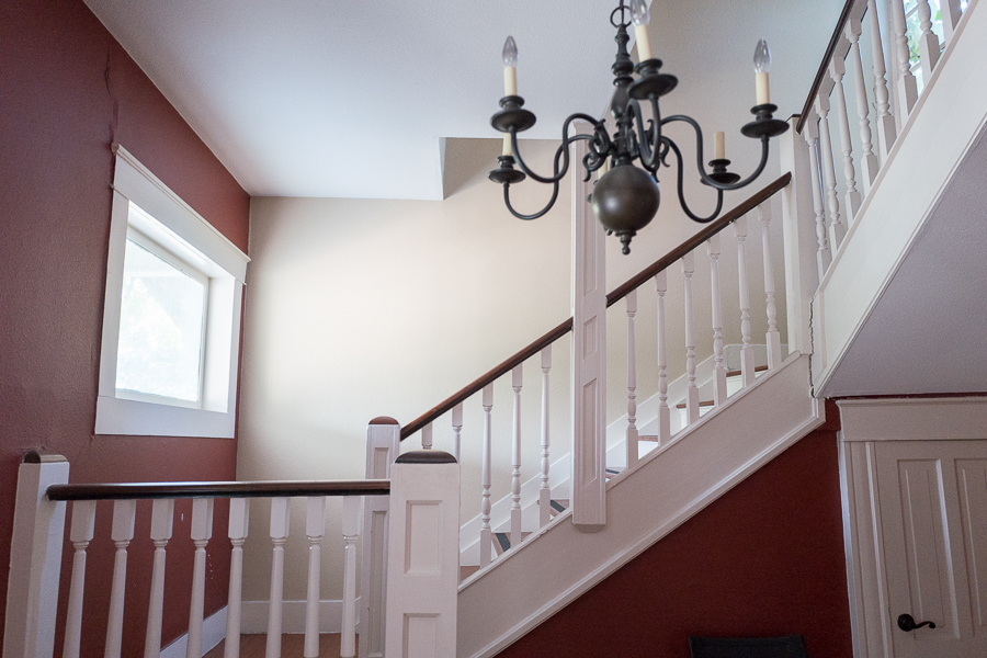 A stairwell leads up to private offices at The Workery. Photo by Scott Ball.