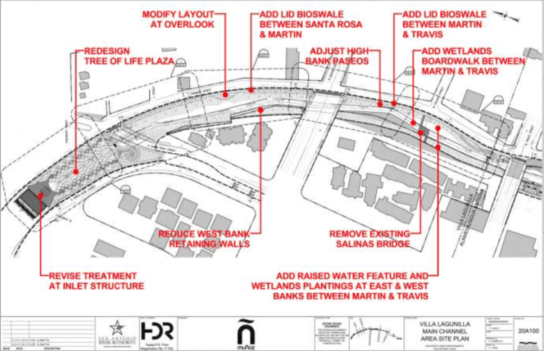 A site map of San Pedro Creek shows proposed design changes. Image courtesy of San Antonio River Authority.