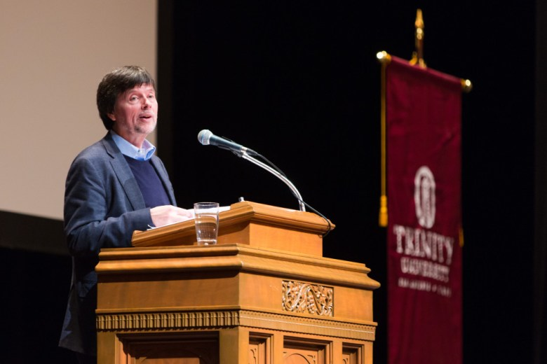 Filmmaker Ken Burns speaks to the audience in Laurie Auditorium. Photo Courtesy of Trinity University.