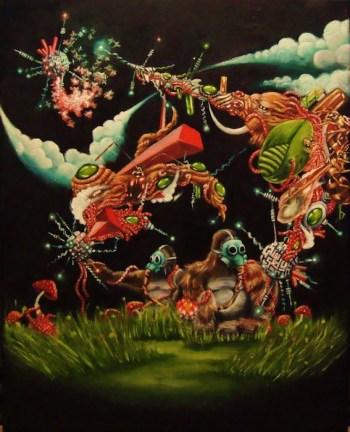 """Gorillas and Tykes,"" 2009, oil on canvas, 20 x 18 in. bySamuel Velasquez."